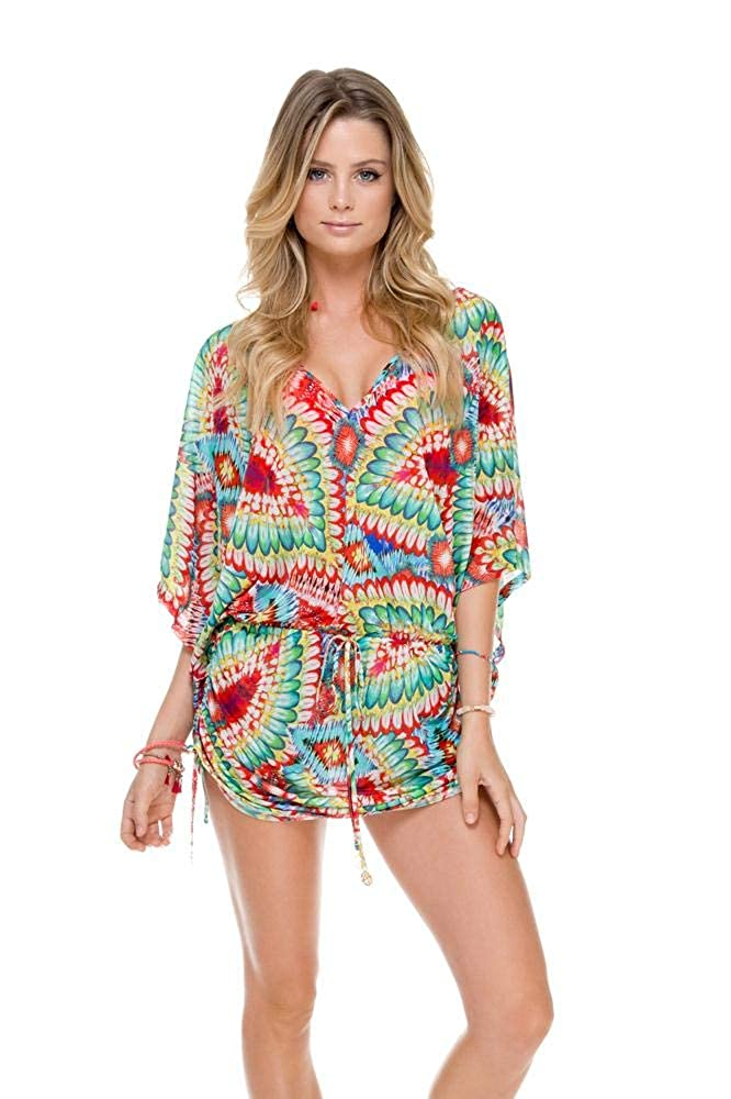 Luli Fama Womens Wild Heart Cabana V-Neck Dress
