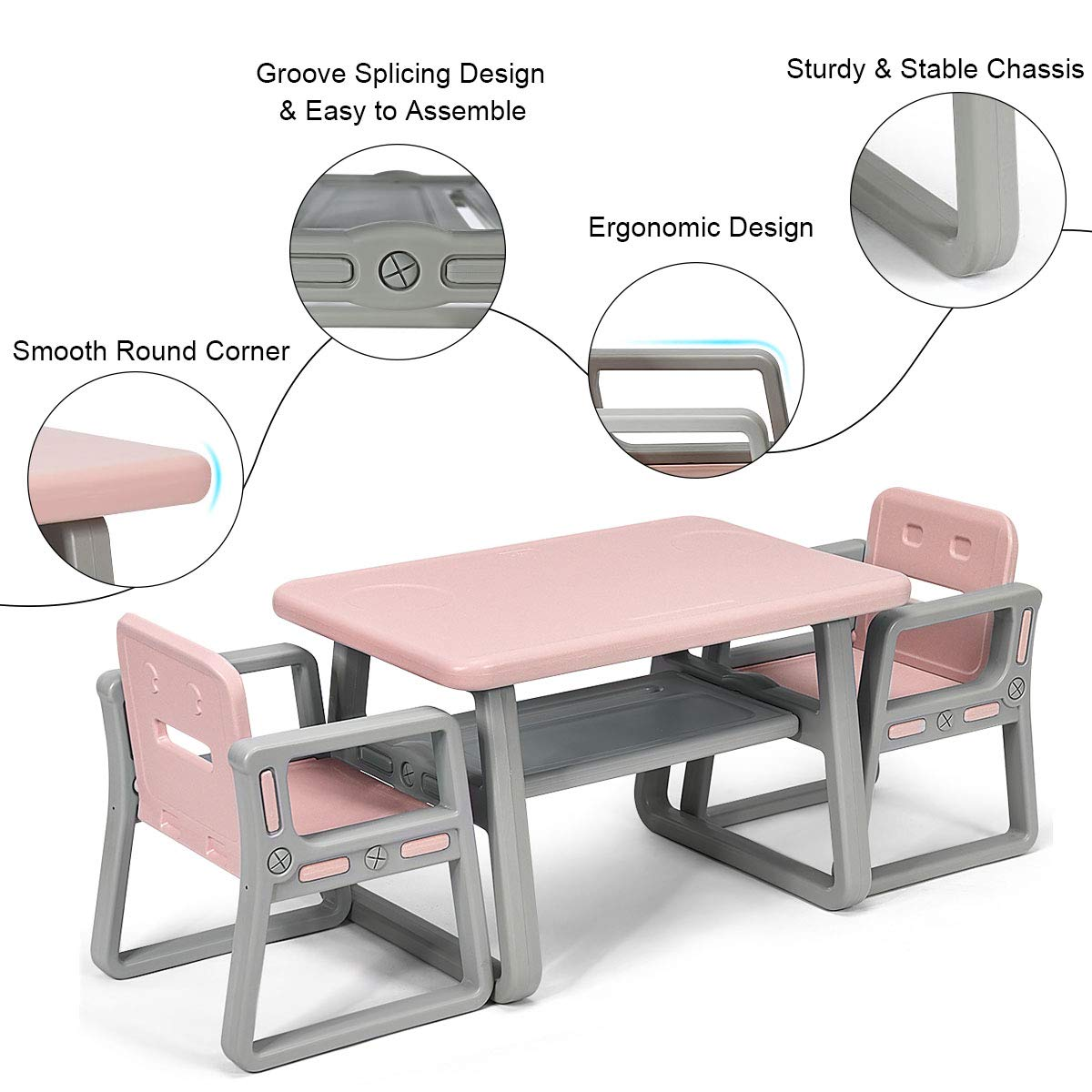 Costzon 3 Piece Kids Table and 2 Chairs Set, Learning Activity Play Table, Baby Dining Table, Children Desk Chair for 1-3 Years, Kids Furniture Set (Pink) by Costzon (Image #3)