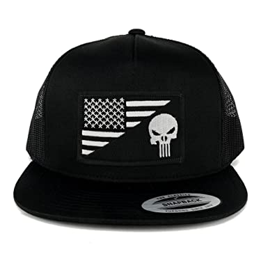 Armycrew 5 Panel Punisher Black White American Flag Embroidered Patch Flat  Bill Mesh Snapback - Black 6f6ab55d1075