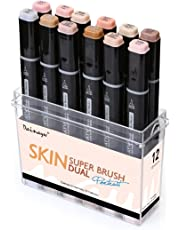 Dainayw 12 Colors Skin Tone Markers, Professional Permanent Dual Tip Soft Brush Artist Sketch Manga Marker for Portrait, Illustration Drawing - Alcohol Art Markers