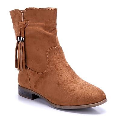 10a27344687a29 Schuhtempel24 Damen Schuhe Flache Stiefeletten Stiefel Boots flach 2 cm   Amazon.de  Schuhe   Handtaschen