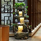 JY$ZB Rockery water fountain lucky indoor and outdoor landscape balcony living room garden resin crafts decoration 106 50 44cm