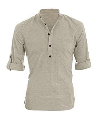 Allegra K Men Grandad Collar Roll Up Sleeves Heathered Henley ...
