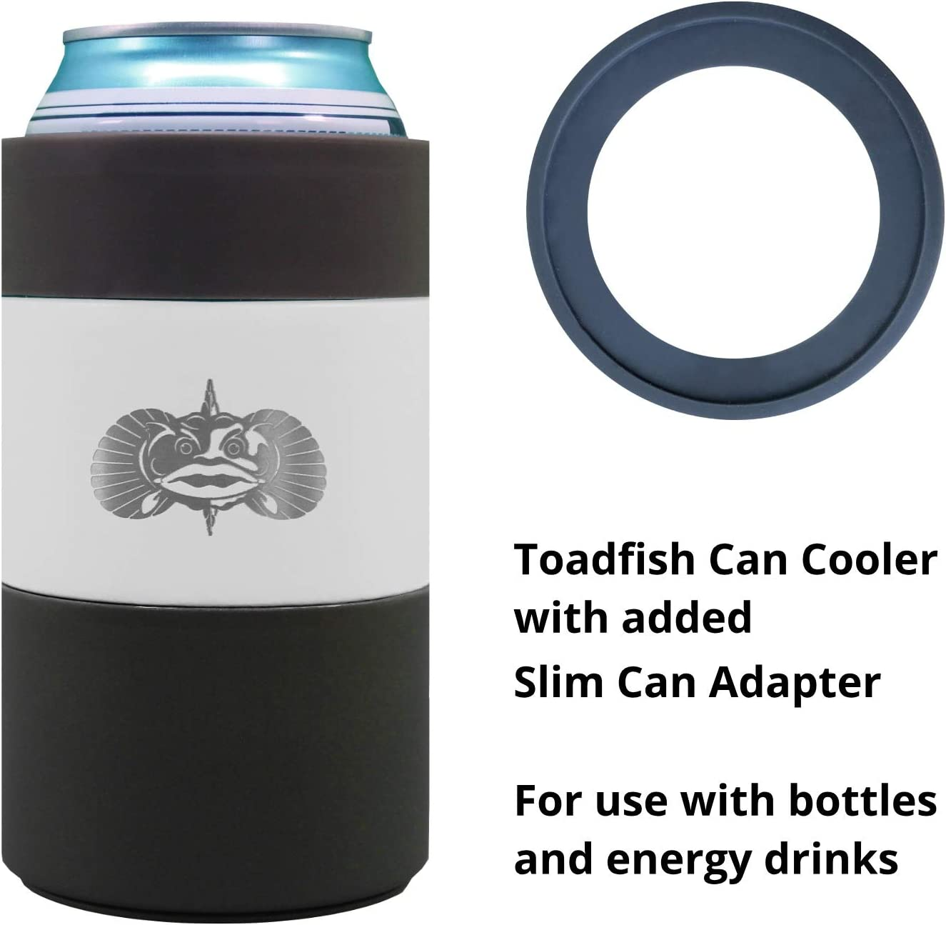 Toadfish Can Cooler - Non-Tipping Suction Cup Can Cooler With Slim Can Adapter - Double Wall Vacuum Insulation Insulated Can Cooler Designed to Stay Upright and Not Spill - Stainless Steel (White)