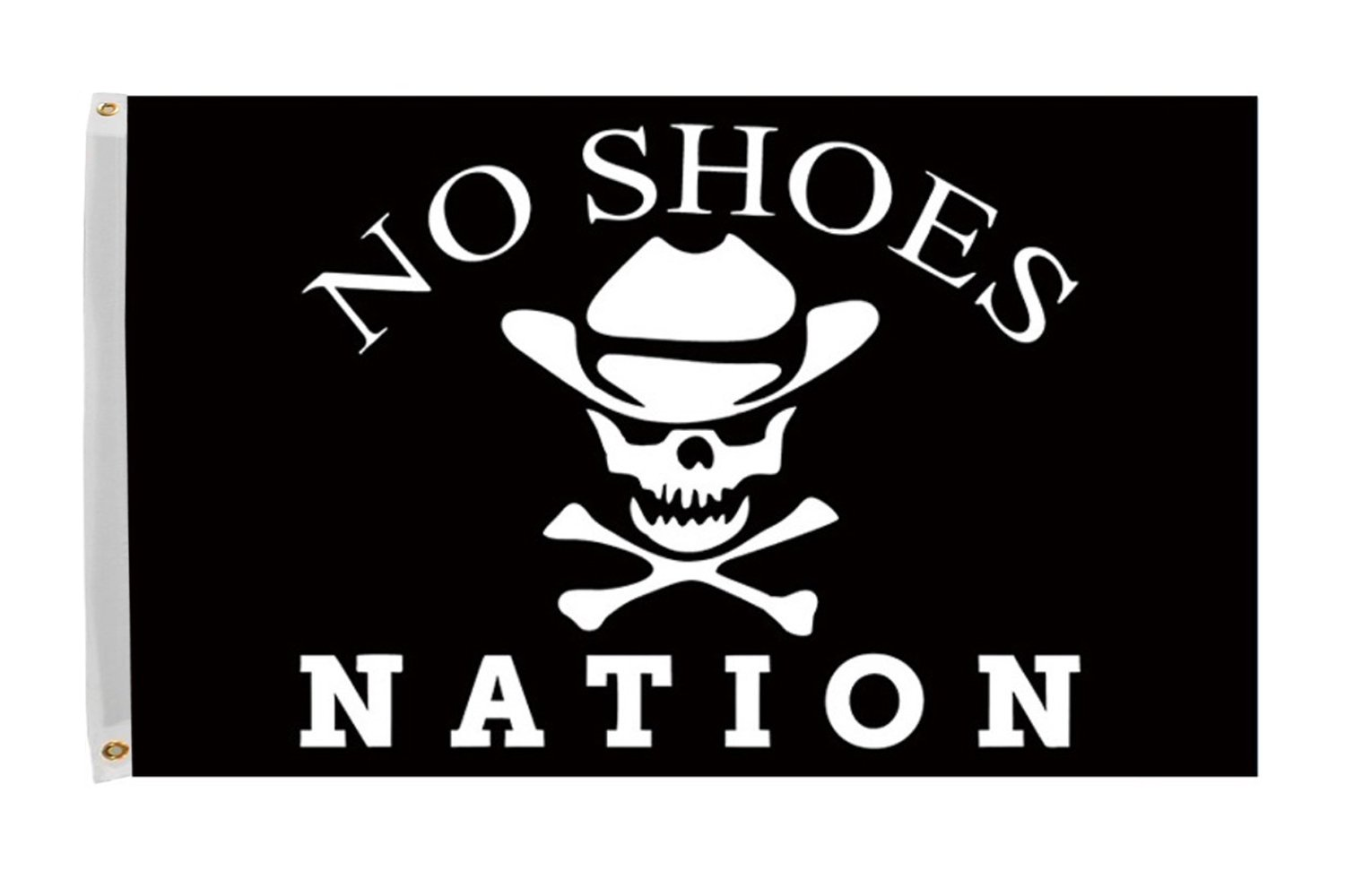 Time Roaming 3x5 Ft No Shoes Nation Flag Pirate Skull with Cowboy Hat Fan Club Polyester Flag with Brass Grommets