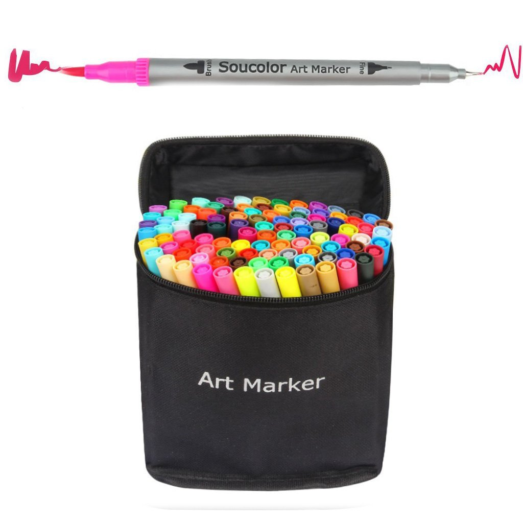Soucolor 100 Colors Dual Tip Brush Pen Coloring Journaling Pens Fine Point Art Marker for Calligraphy Adult Coloring Book Bullet Journal
