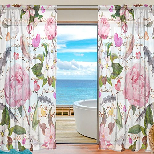 SEULIFE Window Sheer Curtain, Peony Flower Feather Love Heart Voile Curtain Drapes for Door Kitchen Living Room Bedroom 55x78 inches 2 Panels by SEULIFE