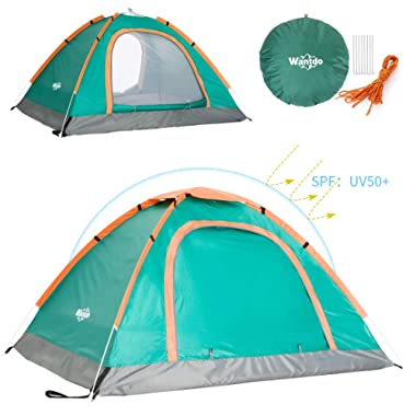 Wantdo 2 Person Pop Up Tent Instant Family Camping Tent Portable Tent Waterproof UV Protected Shelter with Carrybag for Backpacking Picnic Fishing Beach Outdoor Indoor