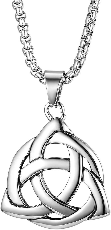 Cupimatch colgante de nudo celta de Irlanda de plata cadena de acero inoxidable Collar para hombre