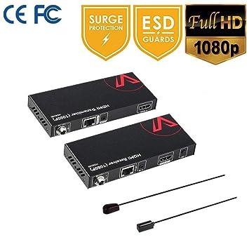 HDMI Extender Uncompressed 1080P 60Hz (24bit color), IR Remote Control Over  a single CAT5e / 6 / RJ45 Ethernet Cable, HDCP Compliance & EDID, Surge