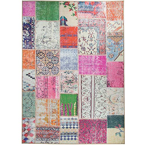 RUGGABLE Washable Stain Resistant Indoor/Outdoor, Kids, Pets, and Dog Friendly Area Rug 5'x7' Patchwork Boho