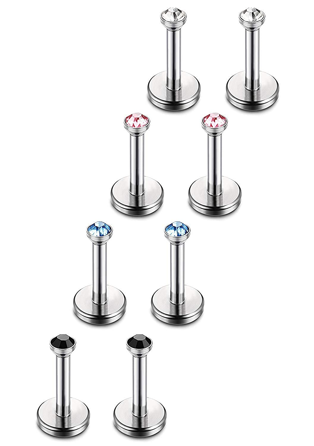 Subiceto 8pcs 18G Stainless Steel Lip Rings Labret Monroe Nose Studs Ear Piercings Tragus 6-12mm Bar Length SO-P07-6MM