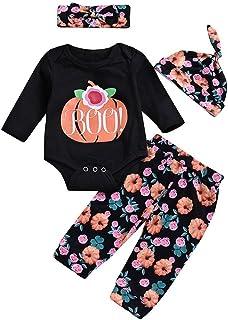 Yter Boy Abbigliamento per Neonati, Bambine, Ragazzi e Ragazze, Pagliaccetto Floreale con Zucca e Cappello