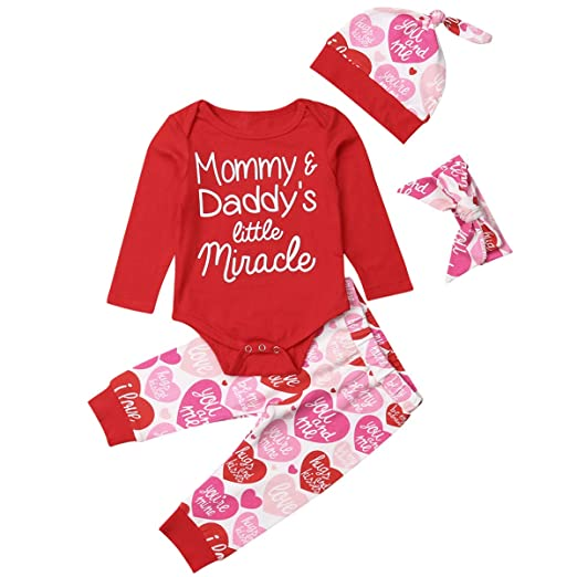 22f6279c90e Newborn Baby Girl Valentine s Day Outfit Set Mommy Daddy s Little Miracle  Romper Tops You and me