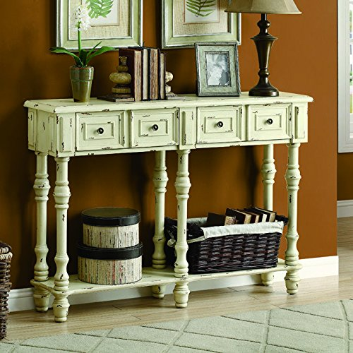 Monarch Veneer Traditional Console Table, 48-Inch, Antique White