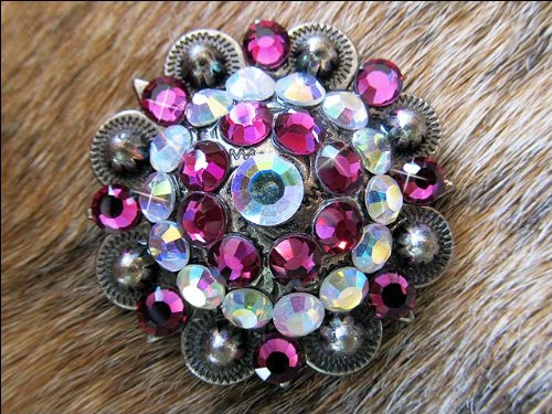 Pink Rhinestone Concho (CN029F- 4 AB PINK RHINESTONE CONCHOS CRYSTAL RODEO BLING HEADSTALL TACK)