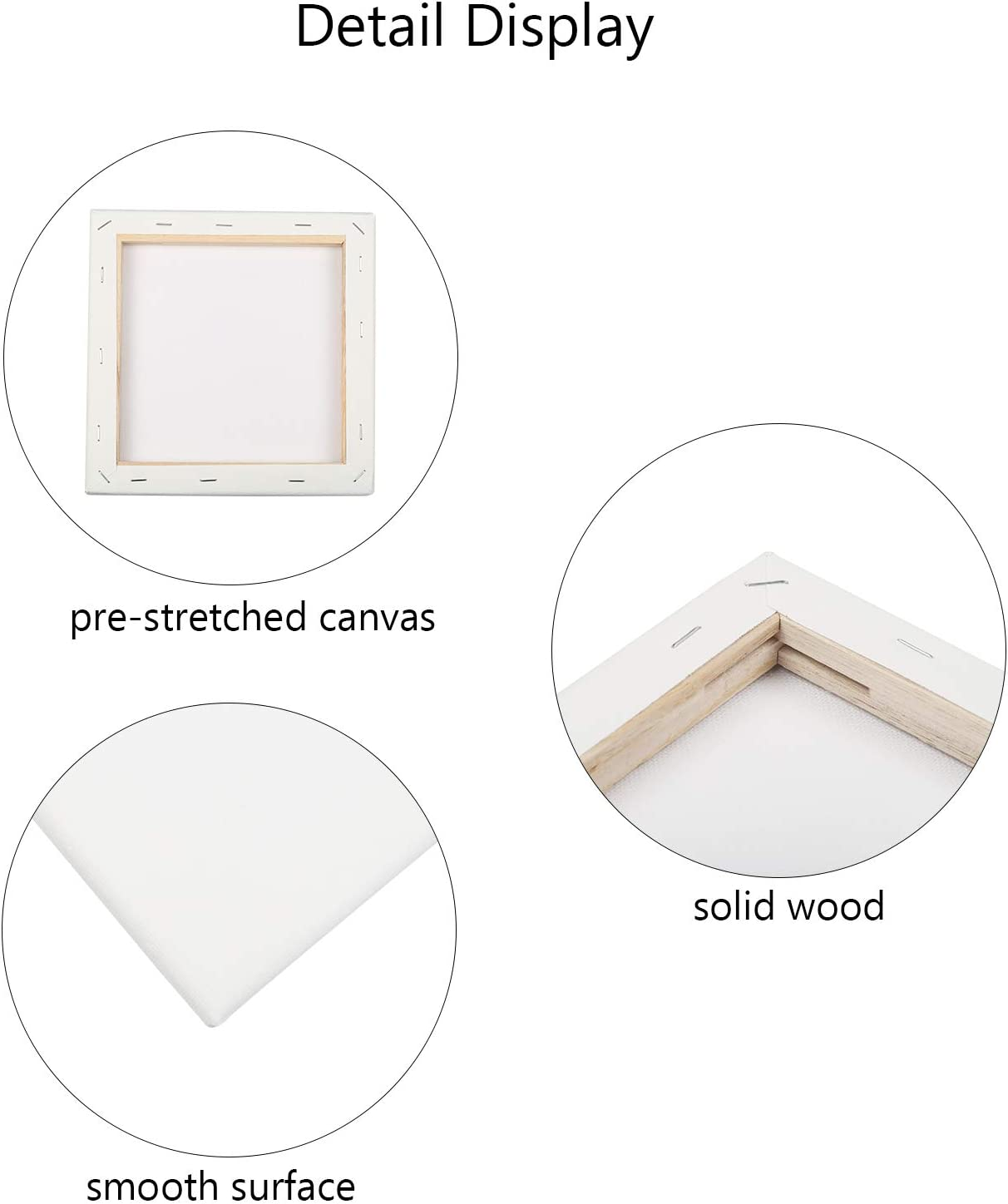 LAITER 12pcs Mini Artist Blank Canvas Frame Square Pre-Stretched Canvas Panel Oil Water Acrylic Painting Board Tiny Wooden Sketchpad for DIY Art Crafts Drawing Decoration Gift