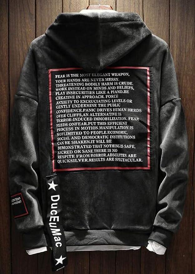 YUNY Men Plus Velvet Hood Basic Oversize Pullover Sweatshirt Top Grey M