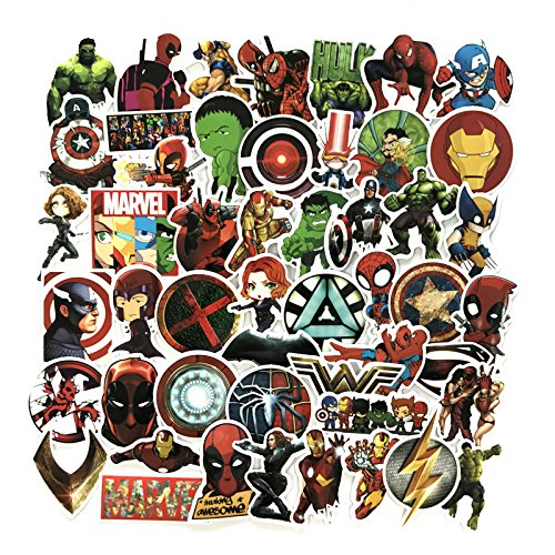 Price comparison product image 50 PCS Super Hero Suitcase Sticker Decals Vinyls for Laptop,Kids,Cars,Motorcycle,Bicycle,Skateboard Luggage,Bumper Stickers Hippie Decals Waterproof(Not Random)
