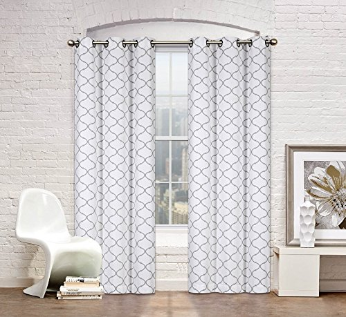 2 Pack: Regal Home Collections Premium Trellis Grommet Curtain Panels – Assorted Colors (Gray) For Sale