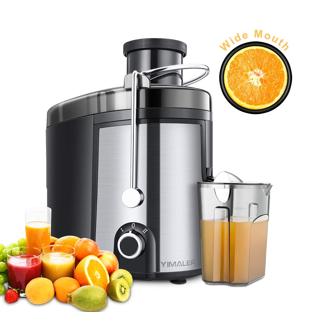 Juicer Juice Extractor, Yimaler Wide Mouth Centrifugal Juicer BPA-Free Food Grade Stainless Steel Dual Speed Setting Juicer Machine with Anti-drip Function for Fruits and Vegetables