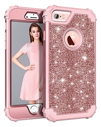 Pandawell Compatible iPhone 6s Plus Case iPhone 6 Plus Case, Glitter Sparkle Bling Heavy Duty Hybrid Armor High Impact Shockproof Cover Case for iPhone 6s Plus/6 Plus, Shiny Rose Gold