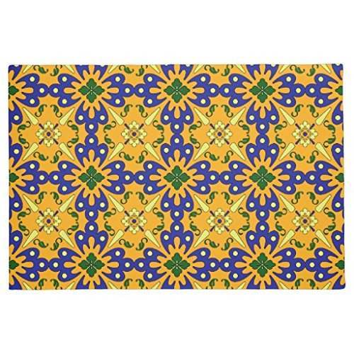 Orange Blue And Yellow Spanish Tile Pattern Doormat for L...