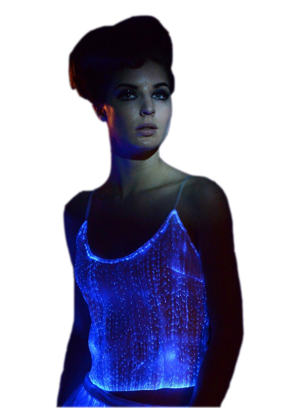 Luminous Tank Top Light Up Tank Tops Glow In The Dark Womens Tops (XL, White)