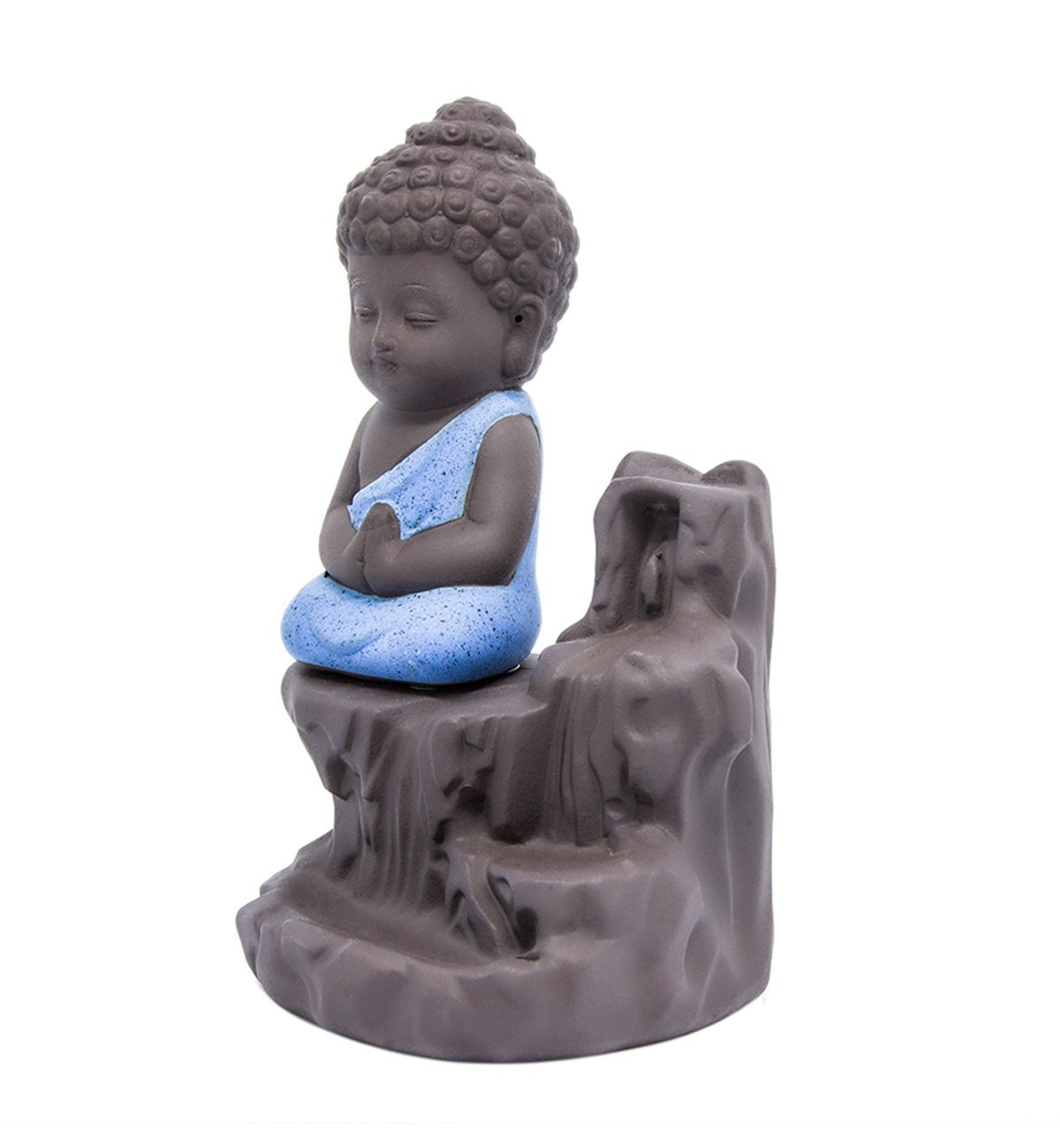 IN-001Blue The Little Monk Waterfall Backflow Homemade Buddha Incense Burner Tower Cones Sticks Holder Ash Catcher