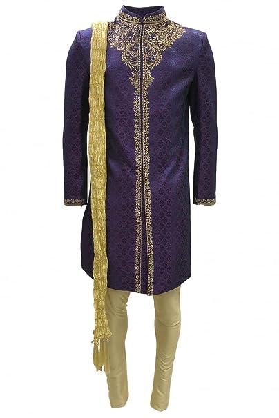 MTS4005 Traje de Sherwani para hombre morado y dorado ...