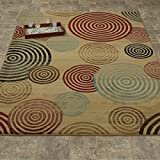 Elegant Collection – Abstract Spiral Circles Contemporary Modern Area Rug 5×7 (5'3″ x 7'3″) For Sale
