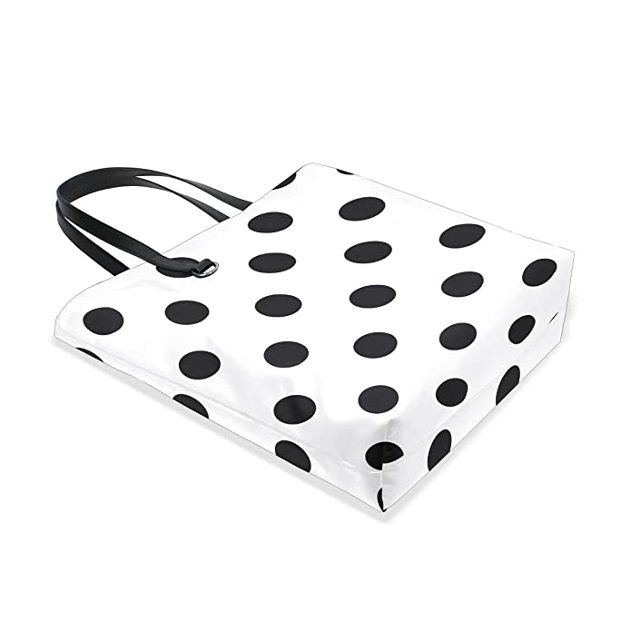 0b977a516 Amazon.com: ALAZA Classic White Black Polka Dot Tote Bag Purse Handbag for  Women Girls: Shoes