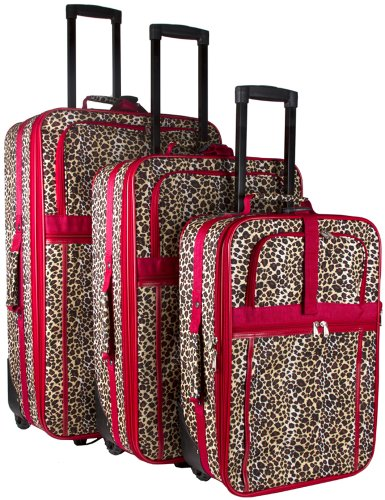 Leopard Print 3 Piece Luggage Set (Red)