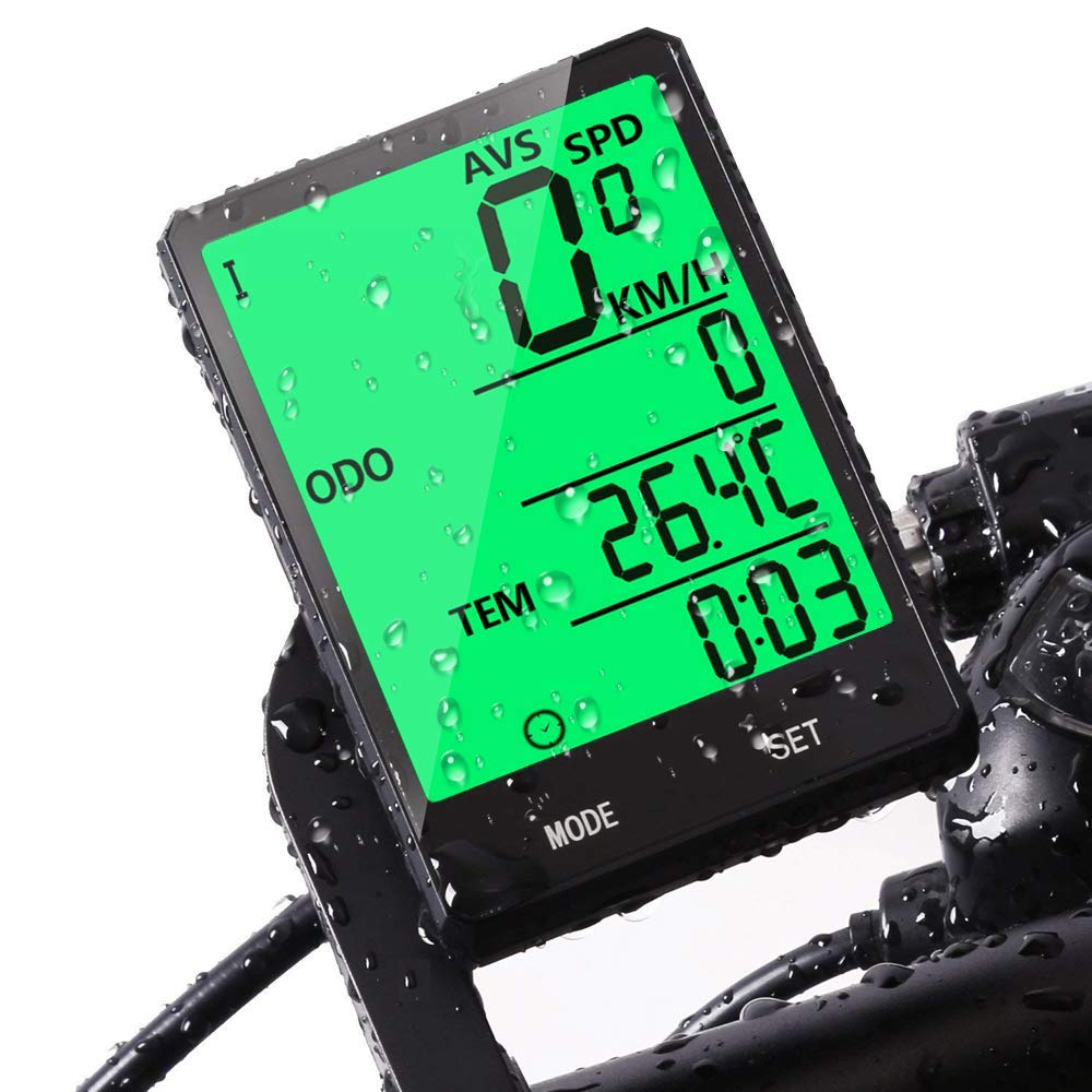 Bike Computer,Bicycle Wired Computer Speedometer and Odometer Waterproof with Backlight Large LCD Display, Tracking Distance AVS Speed Time Two Bicycle Using for Outdoor Cycling,Multi Function by JGRZF