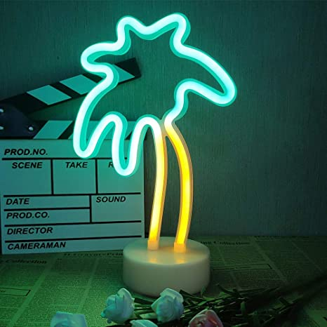 Palm Tree Coconut Neon Signs Neon Lights with Holder Base Dorm Decor Light,LED Coconut Tree Sign Shaped Decor Light,Marquee signs//Wall Decor for Christmas,Birthday party,Kids Room,Living Room Decor
