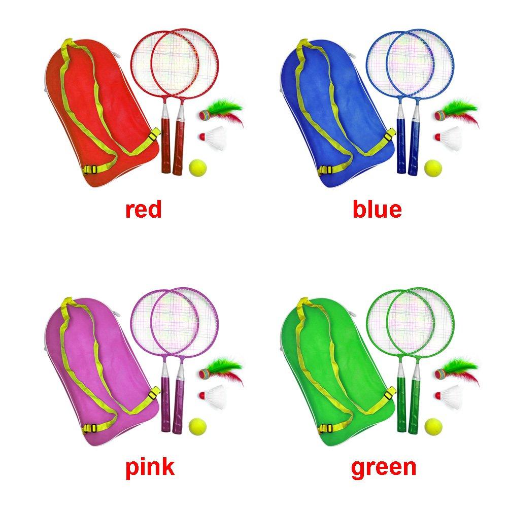 Rouge vap26 Raquette de Badminton 1 Ensemble Ext/érieur Jeux Enfant Sport avec Volant /Éducatif avec Sac /à Dos Badminton Kit de Tennis Enfant B/éb/é Sport Ext/érieur
