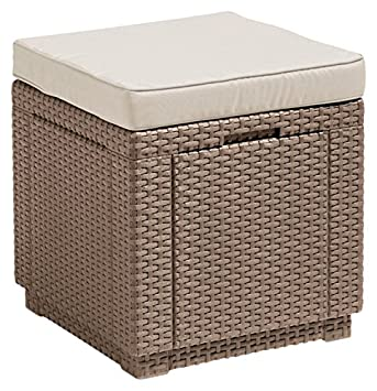 ALLIBERT Tabouret, Cube Cushion, cappuccino/sable, 42 x 42 x 45 cm ...