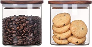 Kebert Clear Glass Storage Jars with Airtight and Stackable Wood Lid, Glass Sealed Food Storage Container for Loose Tea Kitchen Coffee Bean Nuts Sugar Candy, Wooden Lid Glass Canister,18oz X 2 Pieces