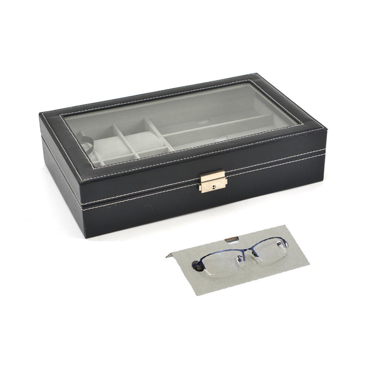 Autoark Leather 6 Watch Box Jewelry Case and 3 Piece Eyeglasses Storage and Sunglass Glasses Display Case Organizer,Black,AW-004 by Autoark (Image #7)
