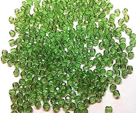 100 perlas de cristal de Bohemia pulidas, de 3 mm, pulidas a fuego, redondas, cuentas redondas checas, perlas de cristal en color a elegir, cristal, Color verde., 3 mm