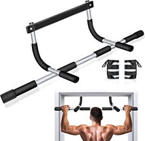 BZK Pull Up Bar for Doorway - Multifunction Chin Up Bar Upper Body Workout Bar Strength Training Equipment for Home Gym Exercise