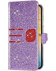 Uposao Compatible con Samsung Galaxy A6 Plus 2018 Funda Carcasa Cubierta de Cuero PU con Tapa,Bling Glitter Purpurina Funda,Cierre Magnético Ranuras Tarjetas Stand Función Flip Libro Billetera,Púrpura