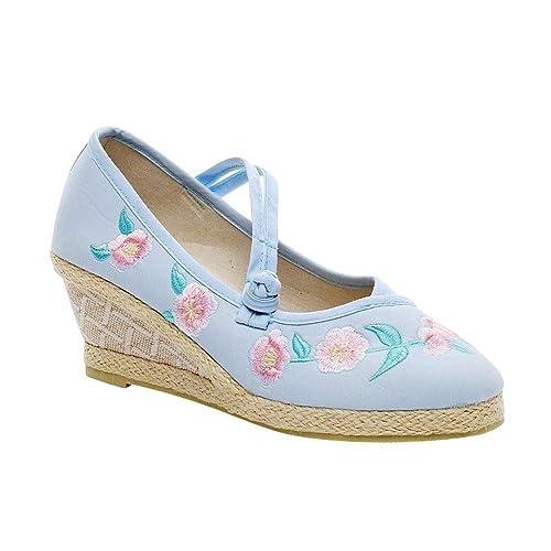 abe1949d Daytwork Mary Jane Zapatos Mujeres - Damas Chino Estilo Zapatos Bordados  Lienzo Plataforma Cuñas Sandalias Casual Fiesta Caminar Verano: Amazon.es:  Zapatos ...