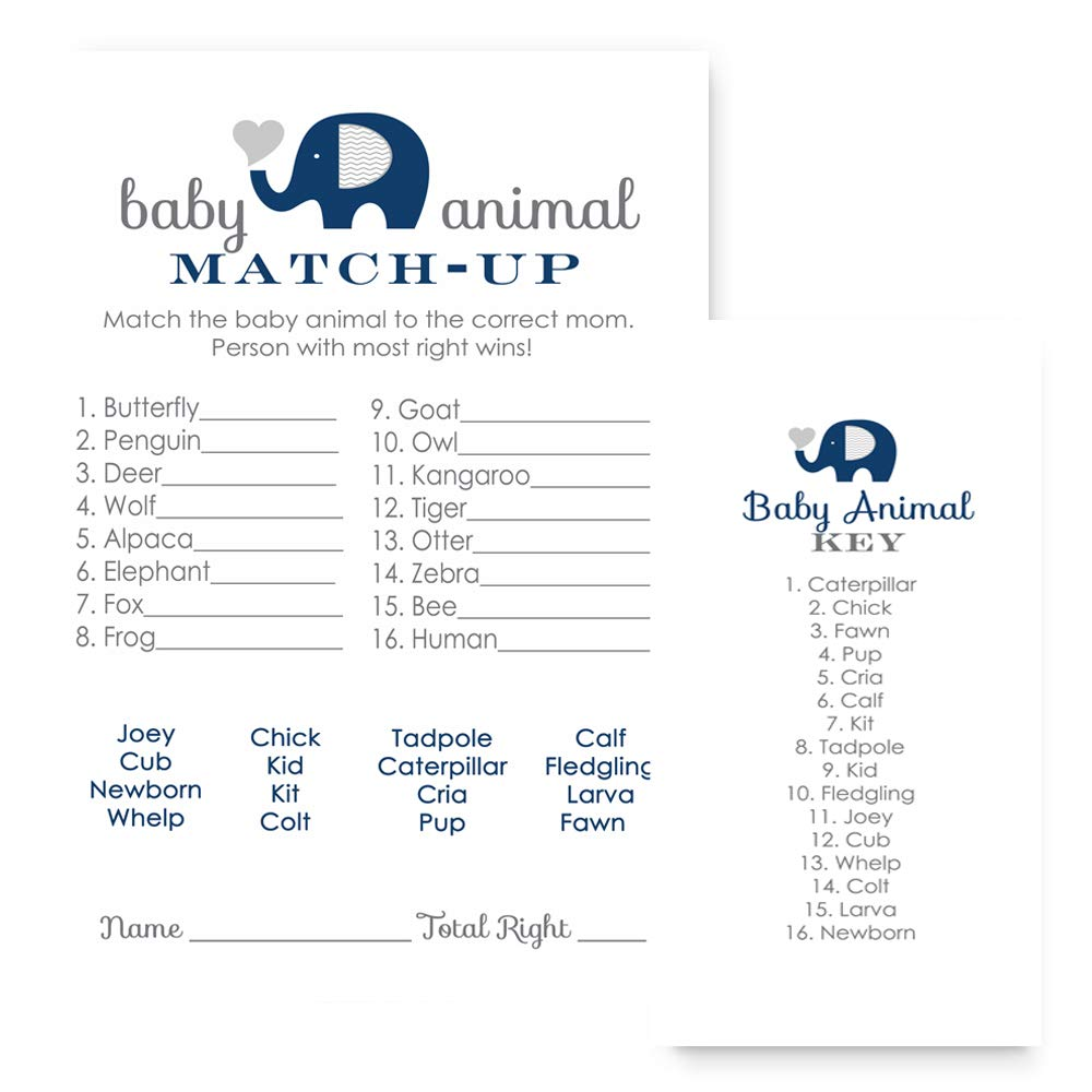 Navy Elephant Baby Shower Games - Animal Match Cards - Set of 25