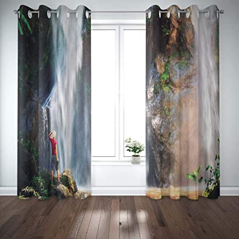 Amazon Com Mrcrypos 52x63 Inch Basement Window Curtains Happy Man Enjoying Amazing Tropical Waterfall Raised Hands Travel Lifestyle And Success 2 Panels Small Window Curtains For Bedroom Kitchen Bathroom Home Kitchen