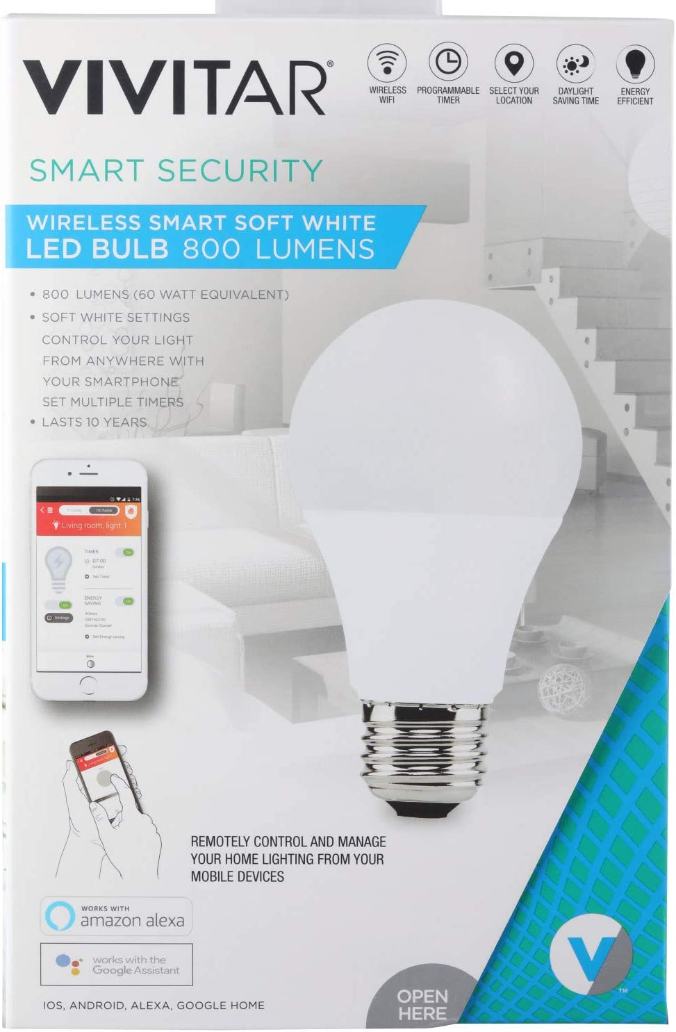 Vivitar LB-95 800 Lumen Soft White LED Bulb, Wireless Wi-Fi, Programmable Timer, Daylight Saving Time, 800 Lumens, Smart Soft White LED Bulb, Iftt/Nest Compatible, White