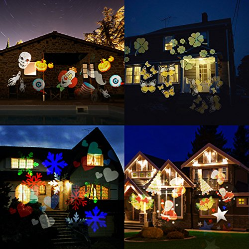 Proiettore Per Luci Natalizie.Led Proiettore Luci Natale Camtoa Impermeabile Multicolore Lampada Di Proiezione Con 12 Lenti Intercambiabili Luci Di Paesaggio Con Wireless