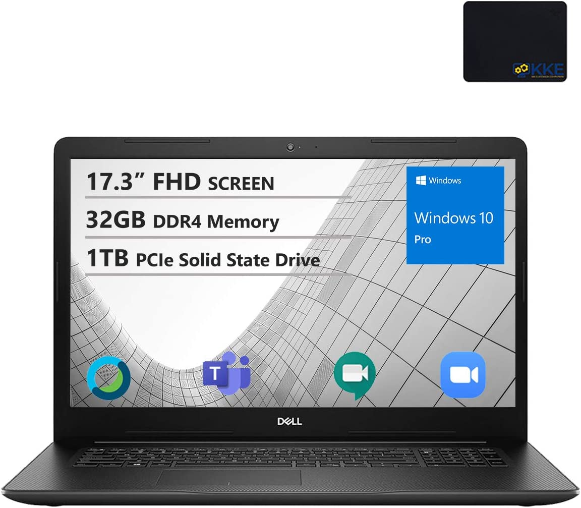 Dell 2020 Inspiron 3000 Series 17.3'' FHD Business Laptop, Intel i5-1035G1, 32GB DDR4 Memory, 1TB PCIe Solid State Drive, HDMI, WiFi, Webcam, DVD Drive,Win 10 Pro, Black, KKE Mouse Pad