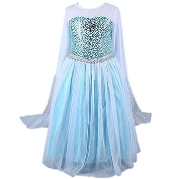 Frbelle® Disfraz de Vestido Estilo Princesa Azul con Capa para Fiesta Noche Boda Ceremonia Cosplay