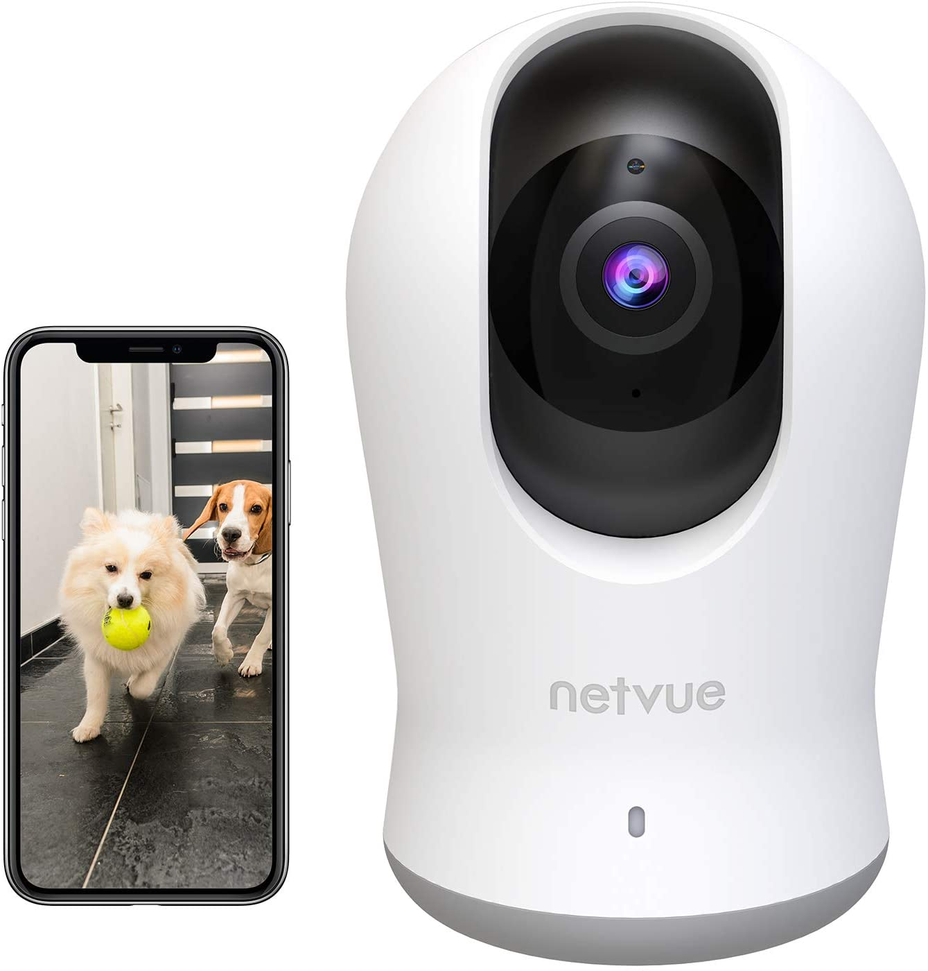 2K 3MP Indoor Camera,Cameras for Home Security Indoor,Dog Camera with H.265 Coding Technical,Netvue Indoor Camera,Indoor Security Camera with Phone App,AI Human Detection, Night Vision